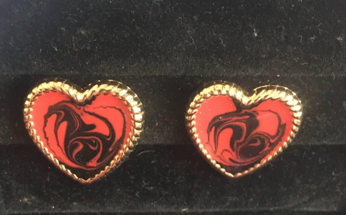 Red & Black Swirl Heart Shaped Earrings